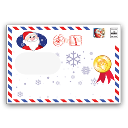 Personalised Envelope with Father Christmas Waving on the front and a North Pole Postmark