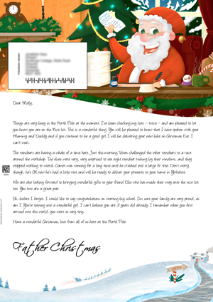 Santa in the Grotto replying to letters