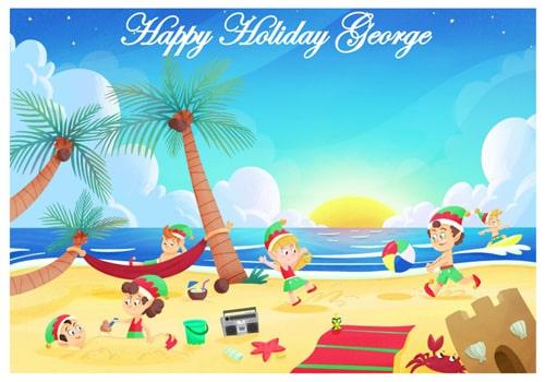 Santa Holiday Elf Postcard - Going on holiday