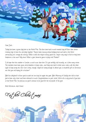 Santa with his reindeer and elfs - Personalised Santa Letter Background