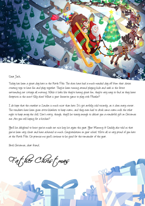 Santa flying around the village - Personalised Santa Letter Background
