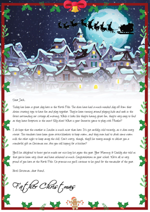 Christmas Eve Flight - Personalised Santa Letter Background