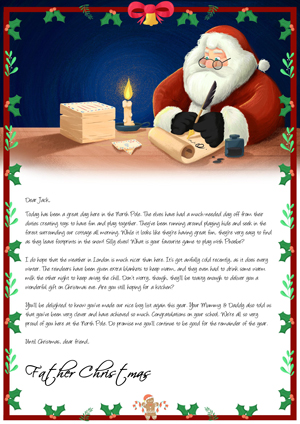 Santa writing reply letters by candle light - Personalised Santa Letter Background