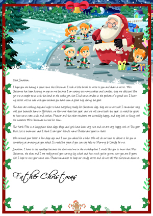 Santa loves cookies - Personalised Santa Letter Background