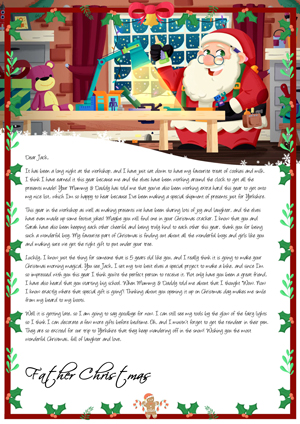 Santa in his Workshop - Personalised Santa Letter Background
