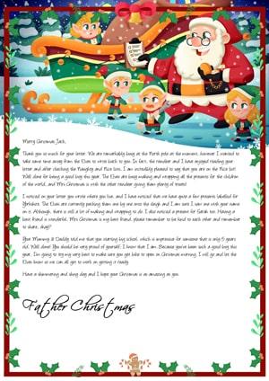 Santa, the elves and the sleigh