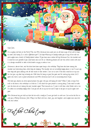 Santa preparing the presents in his sack - Personalised Santa Letter Background