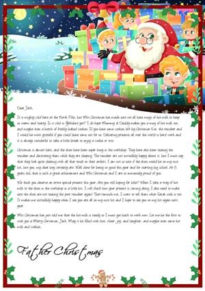 Santa preparing presents in his sack