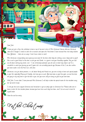 Santa and Mrs Claus in the kitchen - Personalised Santa Letter Background