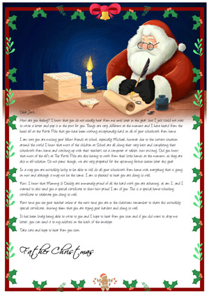 Home School - Santa Writing at desk