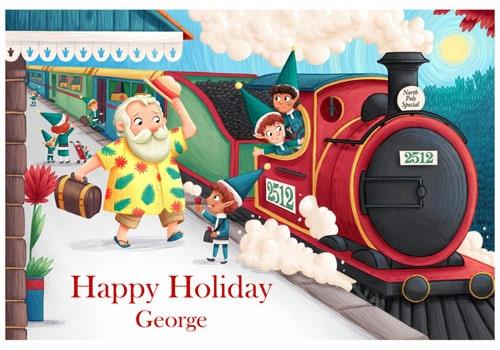 Santa Train Postcard - No holiday