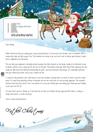santa outside with the reindeers personalised santa letter background