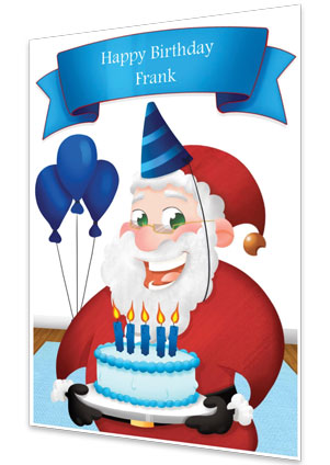 Blue Personalised Birthday Card From Santa