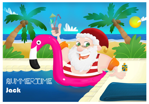 Santa Holiday Flamingo Postcard - Going on holiday
