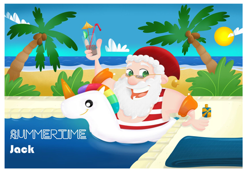Santa Holiday Unicorn Postcard - Going on holiday