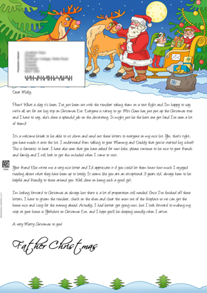 santa in the snow with his reindeer personalised santa letter background