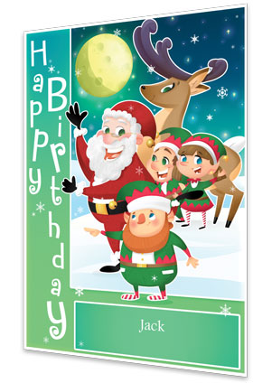 Green Personalised Birthday Card From Santa