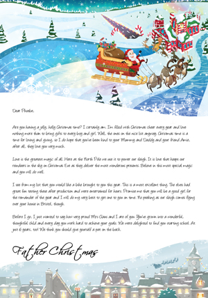 Santa outside the North Pole - Personalised Santa Letter Background