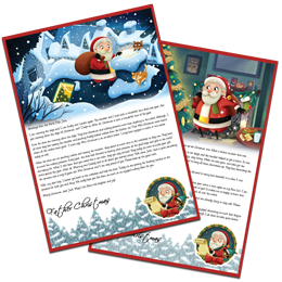 Example Letter with Santa in his grotto writing reply letters and also with his reindeers feeding them carrots